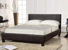 3ft Single Faux Leather Bed Frame in Black Prado