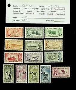 FALKLAND ISLANDS KG VI SET OF 14 VLH MINT STAMPS SC #107-20 CV $210