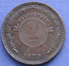 MONETA COIN MONNAIE REPUBLICA DEL PARAGUAY - 2 CENTIMOS 1870 - SHAW - COPPER -