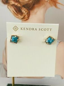 Kendra Scott Betty Turquoise Bronze Veined Stud Earrings Gold Tone