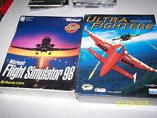 2 New & Sealed Big Box Pc Flight Game Lot - Ultra Fighter & Flight Simulator 98