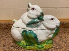 Vintage Oversized Italian Majolica Rabbit Bunny Soup Tureen Ladle