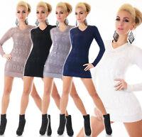 Mujer de Punto Jersey Mini Vestido Largo Suéter Encaje Estrás Remaches 34 36 38