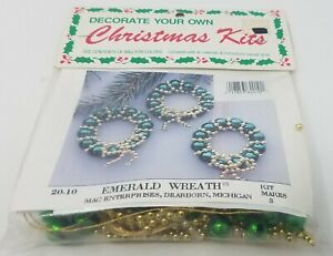 Emerald Wreath Ornaments Beading Christmas Craft Kit Merri Mac Enterprises VTG