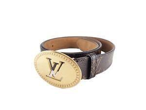 Authentic LOUIS VUITTON Monogram Belt Oval M9842 Browns Gold Tone Metal