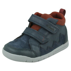 Boys Clarks 'Rex Park T' Navy Leather Casual Hook & Loop Strap Ankle Boots