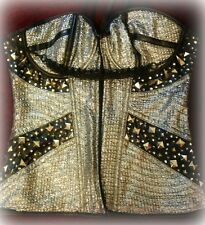 CUSTOM CORSET SILVER AND BLACK ROCK & ROLL SPIKE ALL SIZES