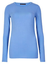 Marks and Spencer Modal Rich Round Neck Long Sleeve Women's T-Shirt - Cornflower, Size 22