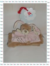 ◘ - Doudou Plat Carré Lapin Rose Beige Broderies Echarpe Nicotoy Neuf