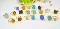 Ottoman Gems semi precious gem stone rings gold plated Chalcedony Turquoise