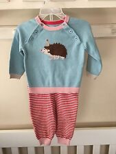 NWT mini boden Baby Girl size 6-12month Knit Sweater And Pants Set Blue