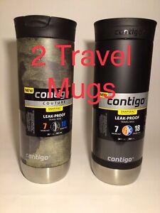 Contigo Stainless Steel Snapseal Travel Mug Coffee Tea 2 Pack Camo Black 20 oz