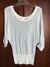 G By Guess Women White Net Knit Light Sweater Blouse Size Medium