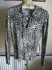 WALLIS Black/White Long Sleeve Animal Print Viscose Top with Stretch, Size 12