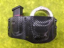 S&W HINGED HANDCUFF & MAG HOLSTER BLK CARBON FIBER KYDEX FITS S&W Shield 9 OWB
