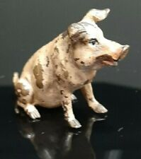 Franz Bergmann Vienna Brass SITTING PIG Cold Painted Bronze Austria* Signed *