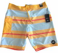 "NWT RVCA Men's UNCIVIL STRIPE 20 Trunk GOLD Boardshorts 4 Way Stretch Size 36"""