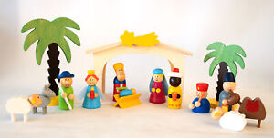 Holzkrippe Spielset, Krippe, Bunte Weihnachtskrippe zum Spielen Kinderkrippe