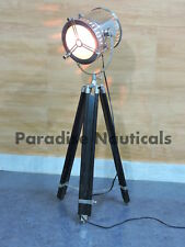 Chrome Nautical Searchlight with Wooden Tripod Floor Lamp Home Decor