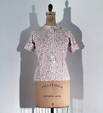 Vintage 1950s/60s Deadstock Floral Print Roll Up Sleeve Shirt Blouse Top 50s