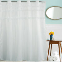 Bathroom Fabric Shower Curtain Chic Frilly Ruffled White Lace With 12pcs Hooks