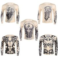 Mens Tattoo Design T Shirt  Long Sleeve Top Tee Mesh Plain shirt Casual Fashion