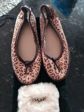 UGG Australia Womens Leopard Print Suede Balllet Flats Shoes 6 With Sleeper Bag