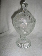 Pretty Indiana Clear Glass Grape Covered Pedestal Candy Dish