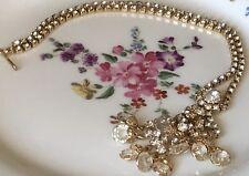 Vtg Rhinestone Necklace Gold Tone Dangle Drop Sparkle Bride Bridal Wedding Forma