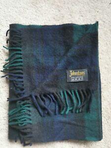 Johnstons Of Elgin Cashmere Scarf Mackenzie Tartan Green Blue Scottish