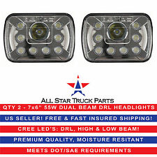 "Pair 7x6"" 5x7 inch CREE Replace H6054 H6014 LED Headlights DRL High/Low Beam 55W"