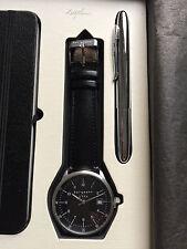 Bergmann 1956 * Rund * Herren Quarz Uhr * Lederband Schwarz * + Stift + Planer