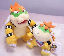 Super Mario Bros King Bowser Koopa Jr. Koopa Soft Toy Plush Animal Doll Set of 2