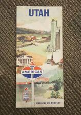American Oil Company Utah Travel Lithograph Road Map Rand Mc Nally & Company