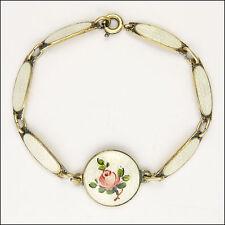 Norwegian Silver Enamel Rose Bracelet - Signed Backwards K