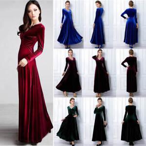 Fashion Womens Swing V Neck Velvet Long Sleeve Dress Cocktail Party Maxi Dress