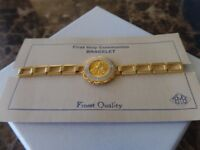 Girls First Holy Communion Remembrance Bracelet, Gold with Clasp, Finest Quality