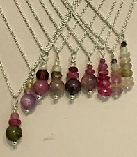 Threaded Sapphire Rondelle Bead Pendants on Sterling Silver Trace Chains