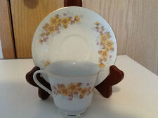 Vintage Tea Cup and Saucer with Yellow Flowers Made in China Stamped with Temple