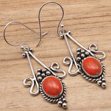 Orange Copper Turquoise Gemstone, 925 Silver Plated Earrings