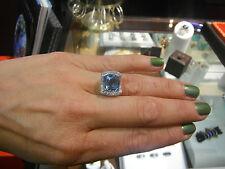 WASKOLL PARIS 18k w/g Gorgeous aquamarine diamond cocktail ring