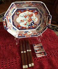Vintage Japanese Imari Ware Plate Red Blue Floral Octagon Hands Service Plate