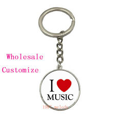 Vintage Glass Cabochon silver Car Key chain ring pendant:I LOVE MUSIC