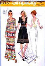 Vintage Sewing PATTERN 1970s V Neck Midriff Dress Short Maxi Size 12 RARE