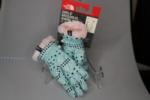 NWT The North Face Girls Mossbud Swirl Glove Windmill Blue Dot Pink Size small