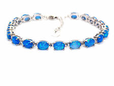 Silver Blue Fire Opal Oval Cut 24.02ct Tennis Bracelet (925)