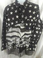 Rodeo Shirt Bull Cowboy Black & White USA Stars Stripes Panhandle Slim XL