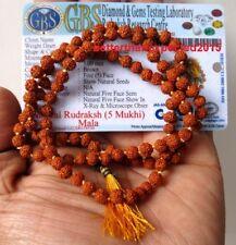 Cuentas De Oración Rudraksha Mala laboratorio certificado 5 mm Japa Yoga 108+1 Rosario Beads Mala