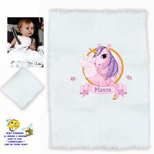 plaid couverture bébé personnalisé licorne prenom texte choix réf 03