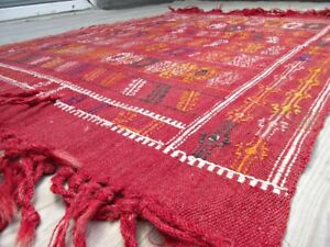 Flatwoven Authentic Wool Small Kilim 3x4 Vintage Unique Bohemian Red Turkish Rug